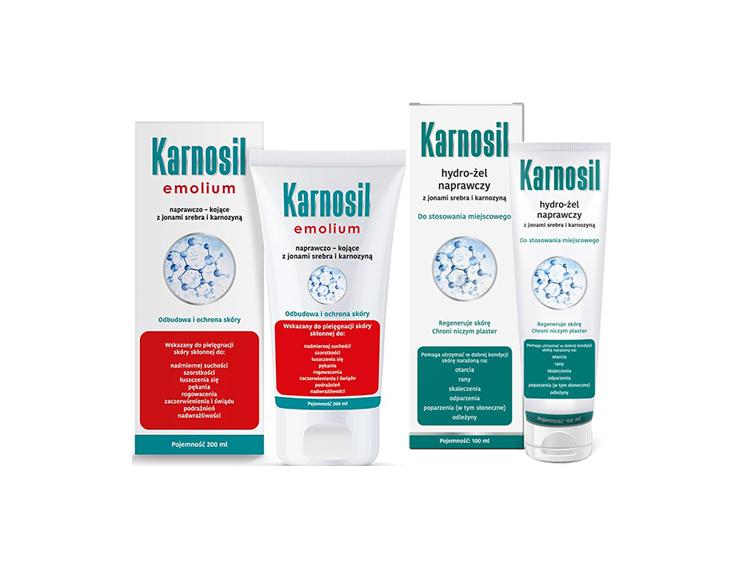 Dermokosmetyki Deep Pharma Karnosil hydro żel oraz Emolium