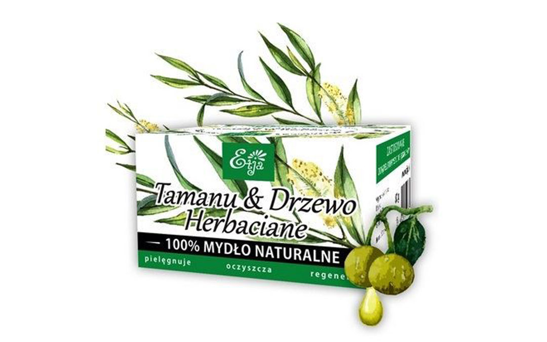 Mydło antyseptyczne Etja z olejkiem z drzewa herbacianego, tamanu oraz olejkiem jojoba.